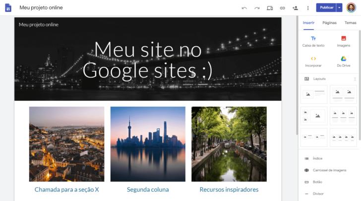 Tela de edição de um site no Google Sites