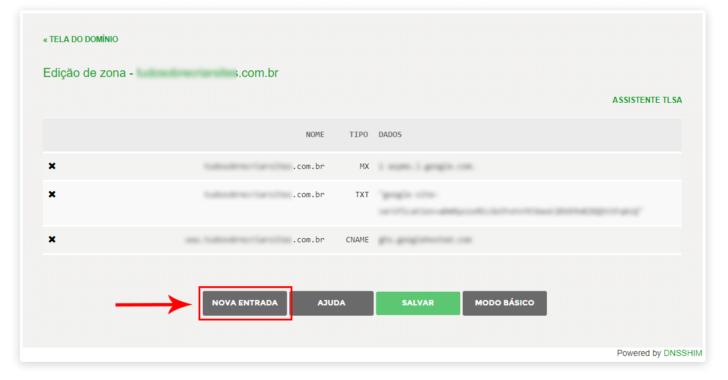 Tela de edição da zona de DNS do domínio no Registro.br
