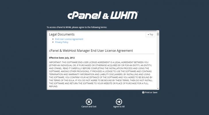 No primeiro acesso ao WHM, é necessário concordar com os termos de uso do software