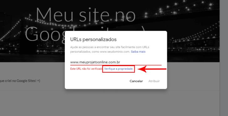 Link para verificação da propriedade do domínio