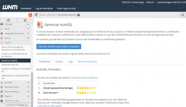 Fornecedores de SSL disponíveis para o AutoSSL, no WHM