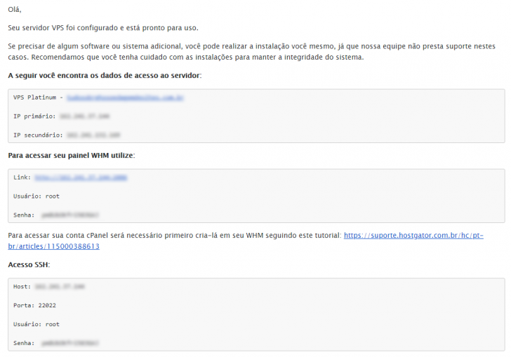 E-mail com os dados de acesso do VPS HostGator, enviado no momento da ativação do serviço