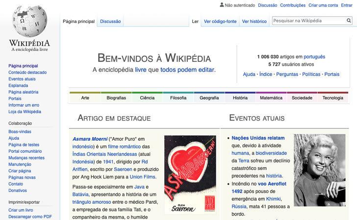 Página inicial do site br.wikipedia.org