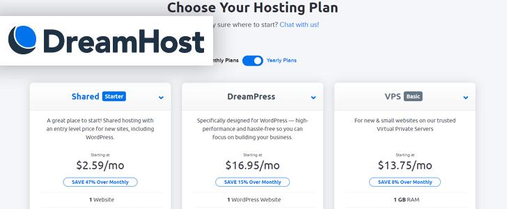 Captura de tela do site da DreamHost com o logotipo da empresa sobre a página.