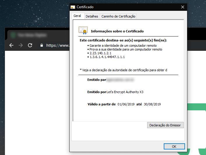 Janela do navegador com o certificado SSL Let's Encrypt em exibição.