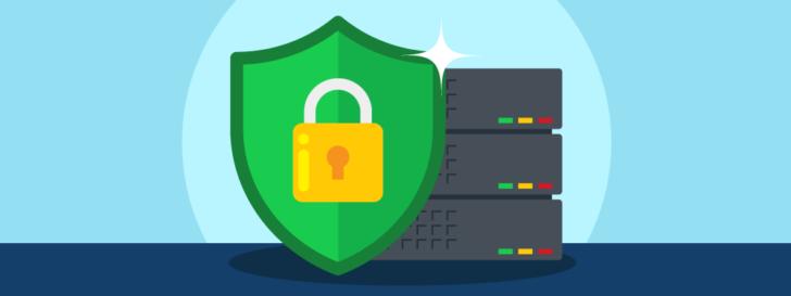 Hospedagem com SSL grátis - escudo com cadeado na frente de um servidor de hospedagem