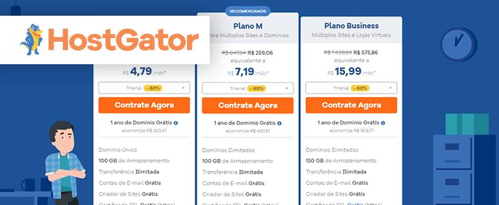 Captura de tela do site da HostGator com o logotipo da empresa sobre a página.