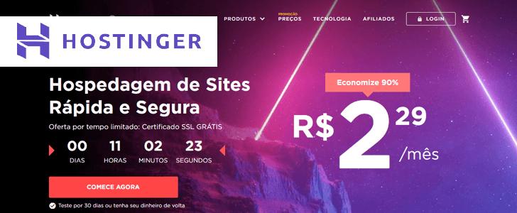 Captura de tela do site da Hostinger com o logotipo da empresa sobre a página.