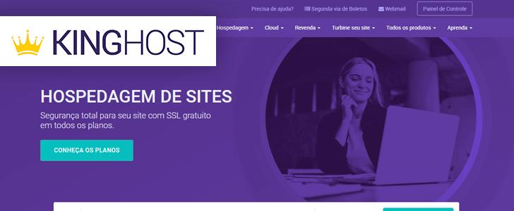 Captura de tela do site da KingHost com o logotipo da empresa sobre a página.