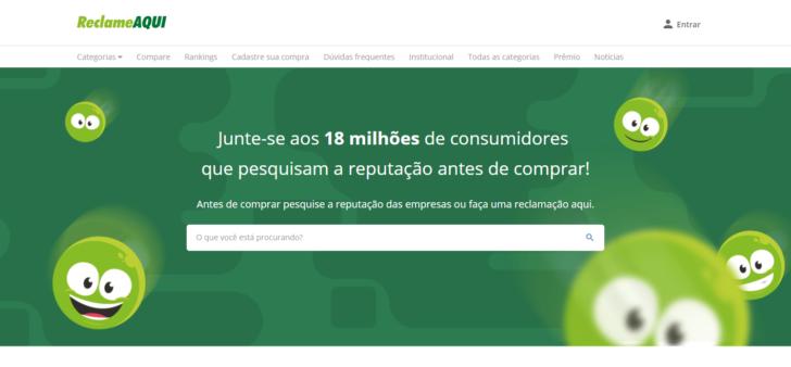 Página inicial do site ReclameAqui para pesquisar pela hospedagem barata
