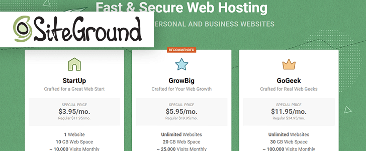 Captura de tela do site da SiteGround com o logotipo da empresa sobre a página.