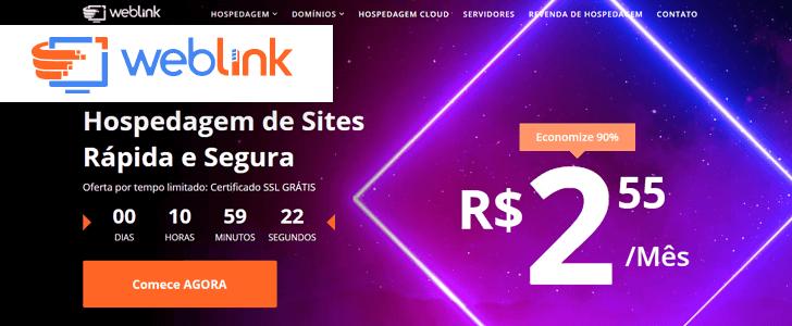 Captura de tela do site da WebLink com o logotipo da empresa sobre a página.