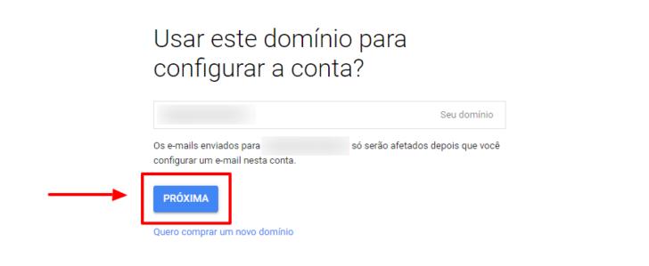Tela para confirmação do e-mail de administração