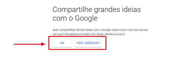 Passo para optar por compartilhar informações de uso do G Suite com a equipe do Google