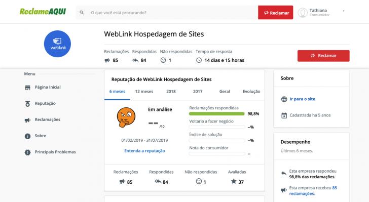 Índice da WebLink está sob avaliação no Reclame Aqui