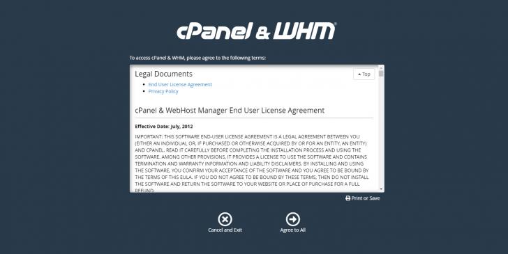 No primeiro acesso ao WHM, é necessário aceitar os termos de uso do software