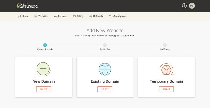 O painel indica os passos para criar um novo website