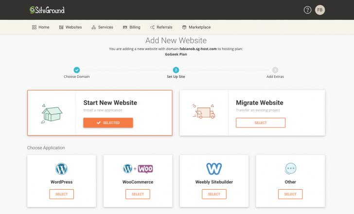 Tela de setup de um novo site no painel da SiteGround