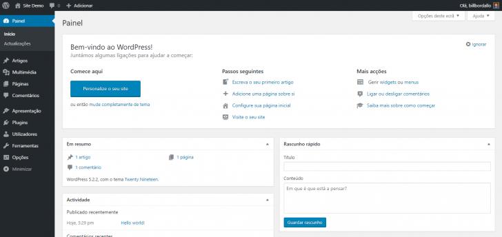 Tela inicial do painel de administração do WordPress