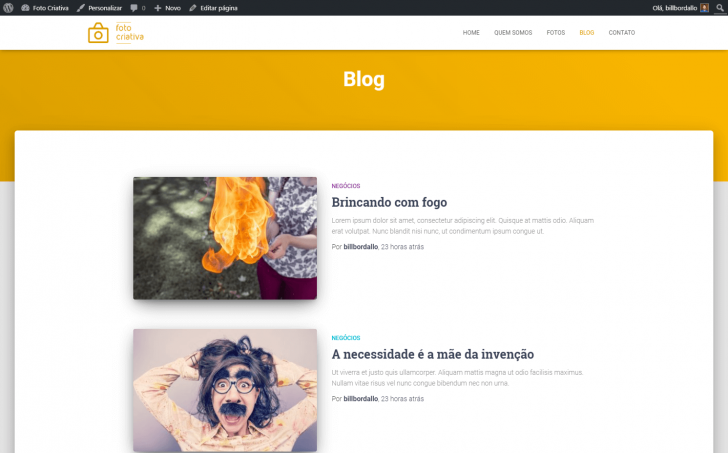Página do blog, com a cor padrão do tema e os posts existentes