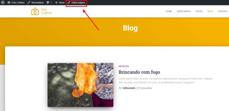 É possível editar a página do blog