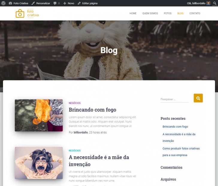 Página do blog (lista de posts) com uma imagem de cabeçalho e coluna lateral