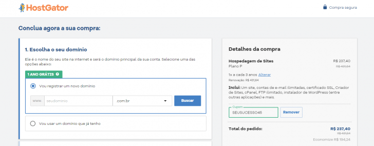 Carrinho de compras HostGator, com o campo para registro do domínio