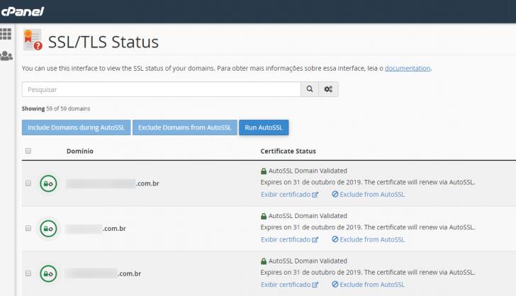 Tela do cPanel exibindo o status dos certificados SSL presentes em cada domínio