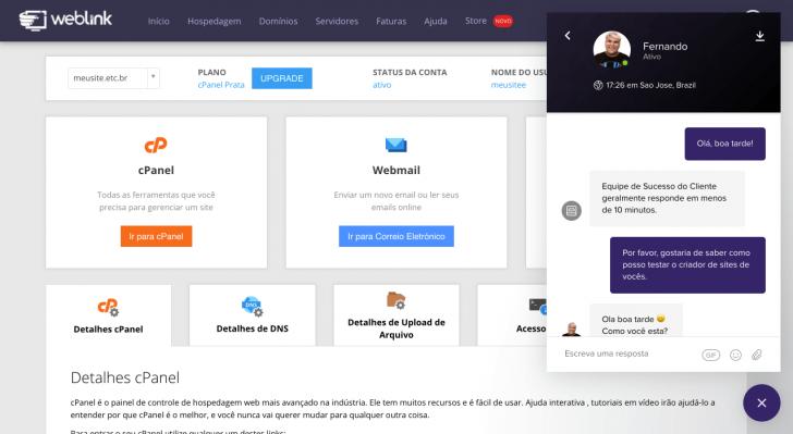 Janela de chat dentro do painel de cliente da WebLink