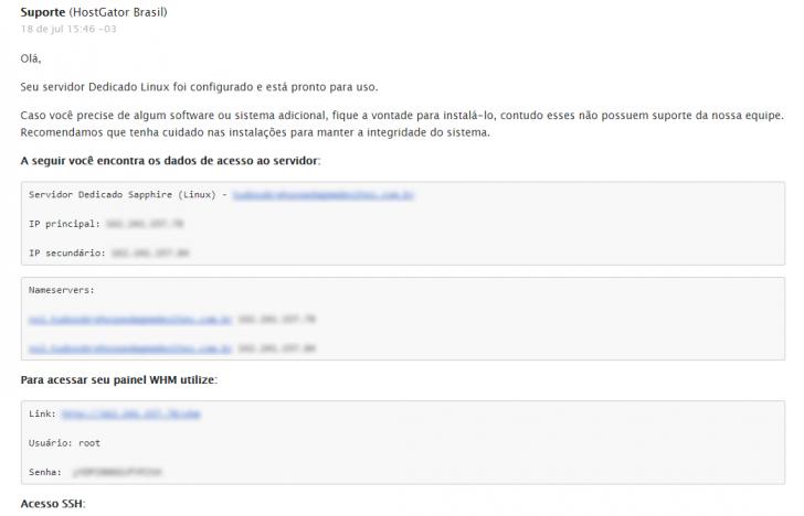 E-mail com os dados de acesso ao servidor dedicado Linux Sapphire