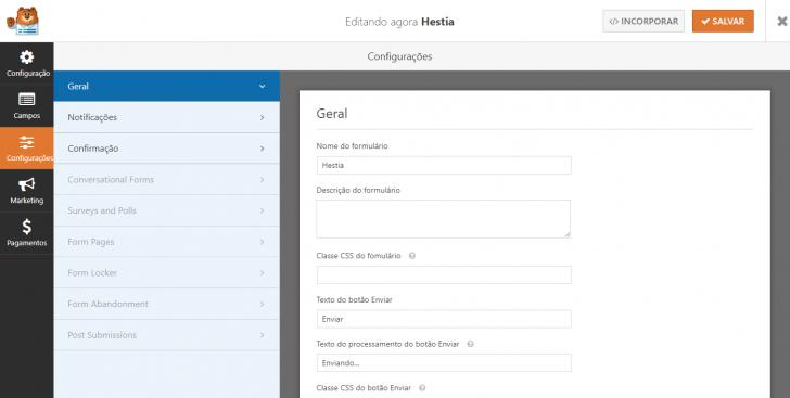 Edição das configurações do formulário