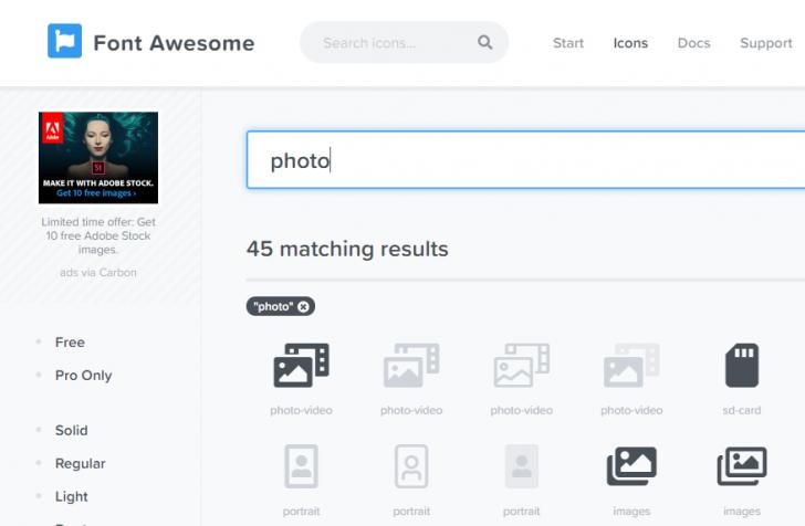 Busque pelo ícone desejado no site Font Awesome