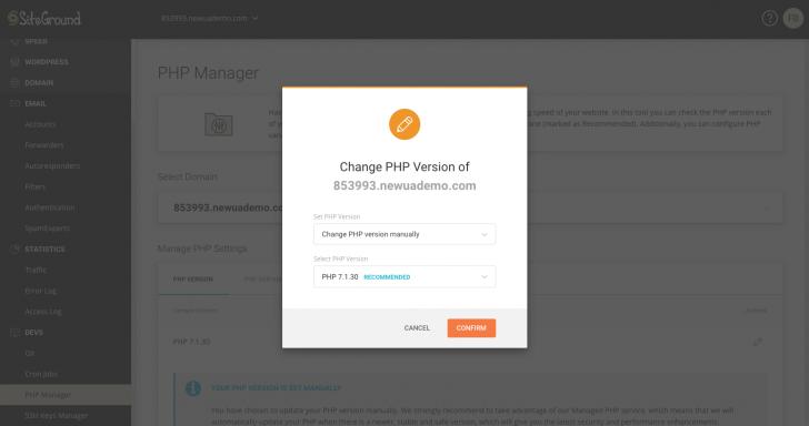 Ferramenta para alterar a versão do PHP no novo painel da SiteGround