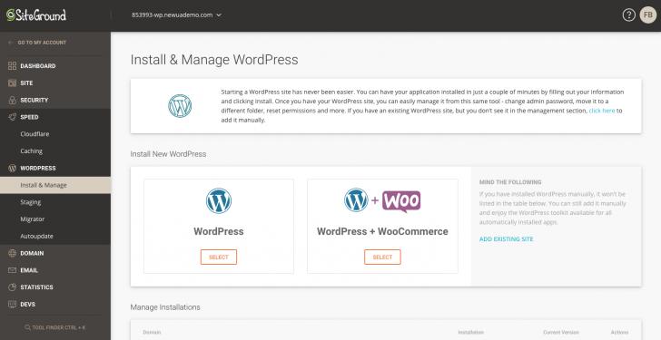 Área de gerenciamento de instalações WordPress
