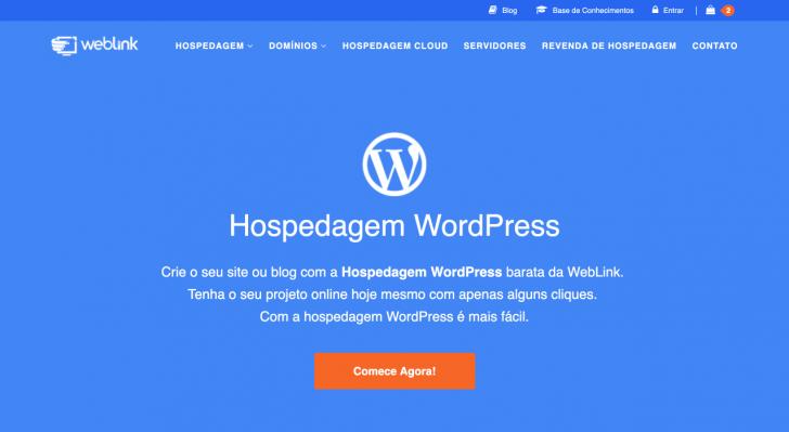 Página da hospedagem WordPress no site da WebLink