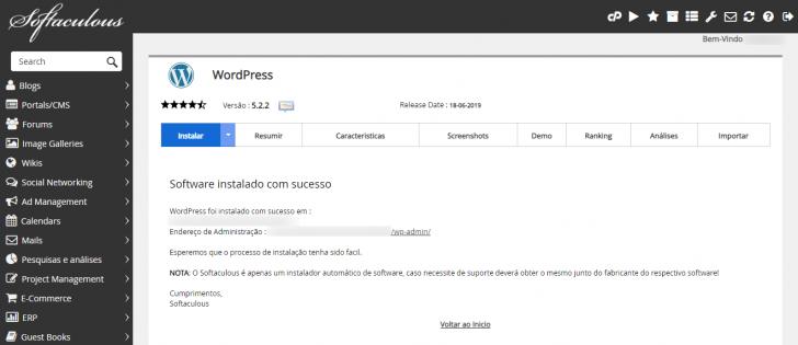 Tela de conclusão da instalação do WordPress usando o Softaculous