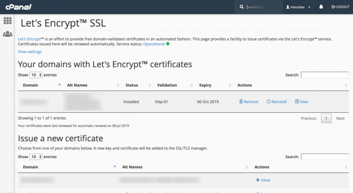 SSL Let's Encrypt instalado via cPanel na WebLink