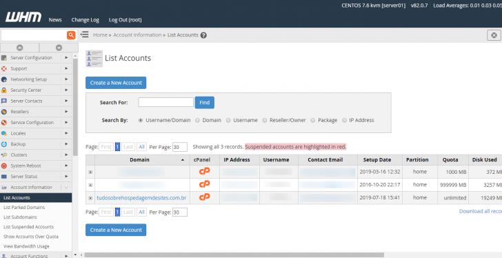 Lista de contas cPanel presentes no WHM após a migração do servidor