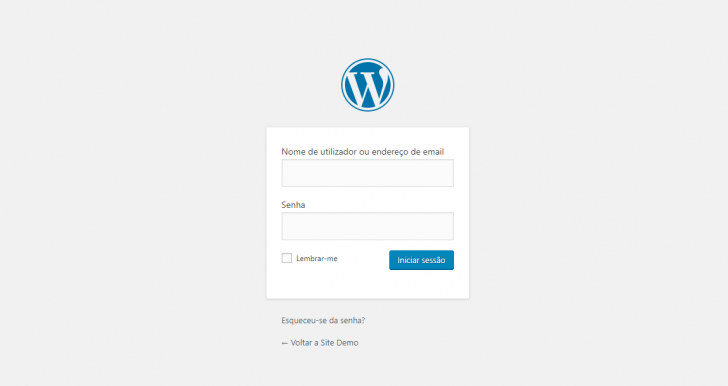 Tela de login padrão do WordPress
