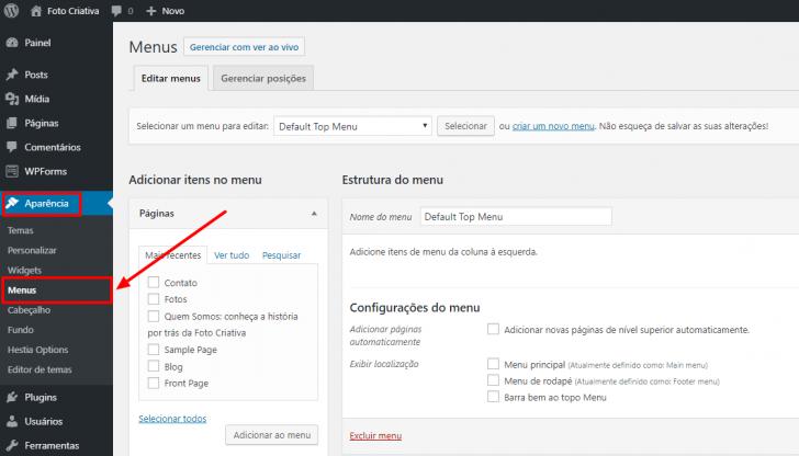 Caminho para gerenciamento e edição de menus no WordPress