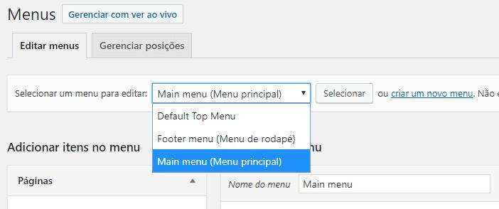 Selecione o menu que deseja editar