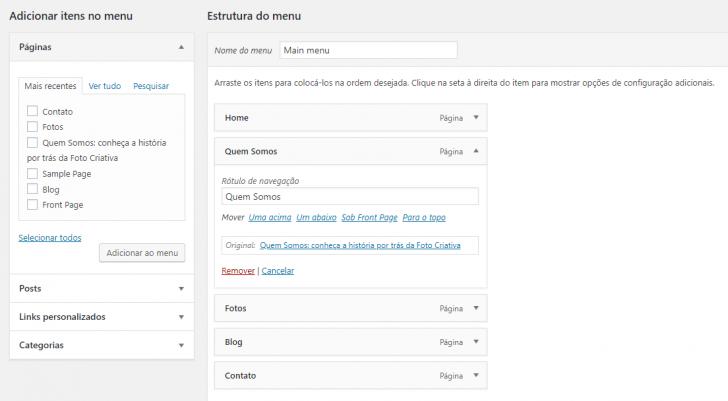 É possível editar o texto de exibição no menu