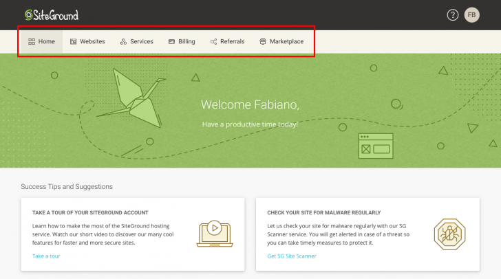 Menu do novo painel da SiteGround