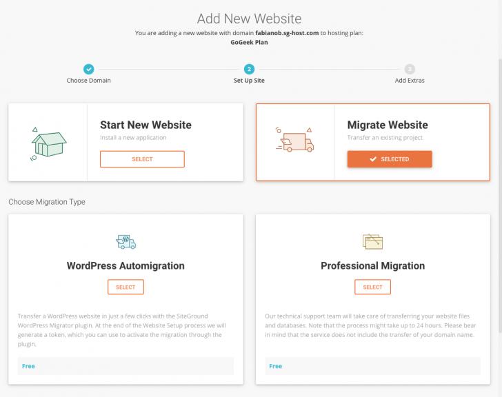 Opções para migração de sites no painel da SiteGround