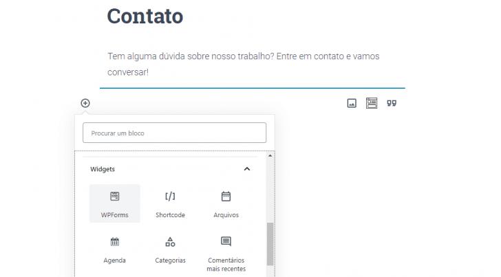 Inserção de bloco do tipo WP Forms, para criação de um formulário de contato