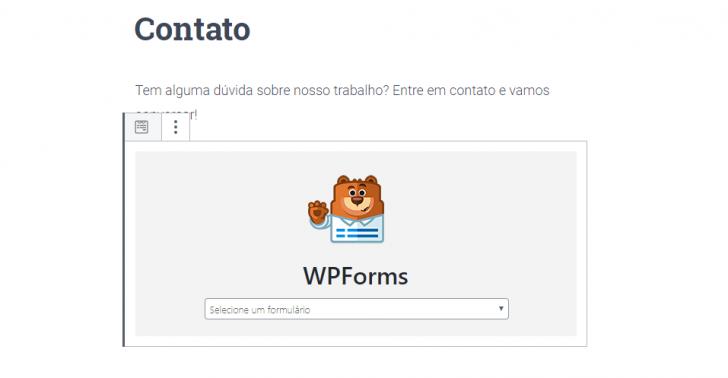 Após a inserção do bloco, selecione o formulário que deseja exibir