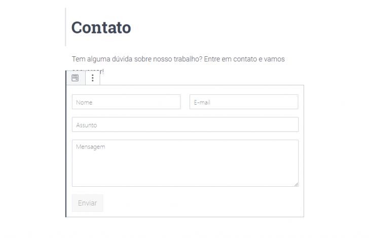 O formulário é carregado automaticamente após a seleção