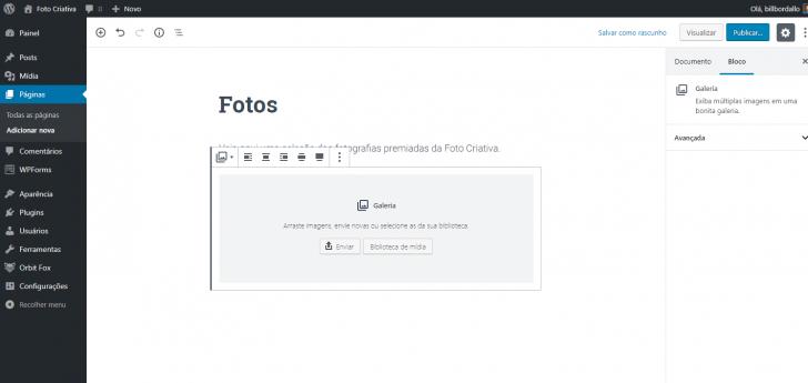 As imagens podem ser inseridas através de upload ou selecionadas a partir da biblioteca