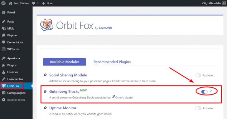 Caminho para ativação dos blocos extras para edição de páginas e posts