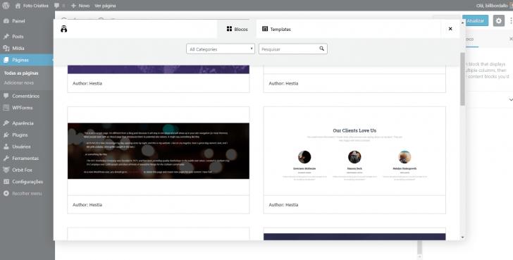 Opções de layouts de página disponíveis após a ativação dos blocos extras